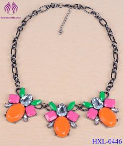 China Women fashion Necklace Chunky Crystal candy color gemstone Jewelry on sale
