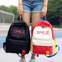 Large capacity men and women street shot stitching color backpacks fashion casual joker high school students bag tide