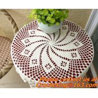Crochet Round table clothing - table cover - white, wedding and banquet, blanket, clothes