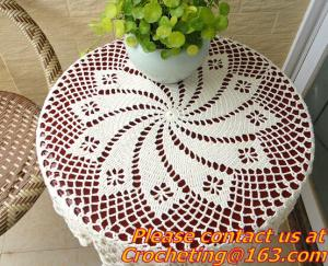 China Crochet Round table clothing - table cover - white, wedding and banquet, blanket, clothes on sale
