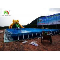 Customized Yellow Elephant Inflatable Water Parks With Slide / Pool / CE Air Pump