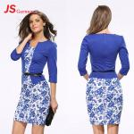 JS 20 Lady Autumn Formal Printed Office Long Sleeve Latest Two Piece Women's Dress 708