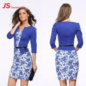 China JS 20 Lady Autumn Formal Printed Office Long Sleeve Latest Two Piece Women's Dress 708 on sale