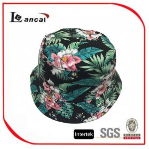 China 100% Cotton Hawaii Printed Bucket Hat With Drawstring , Ladies Floral Bucket Hat on sale