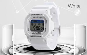 China Lady White Jelly Digital Sports Watches 12 / 24 Hour With Stop Watch on sale