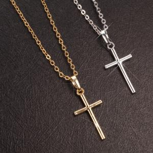 China 925 silver simple design gold/silver plated cross pendant necklace on sale