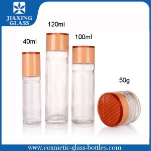 China 50g Clear Glass Cosmetic Jars , Cosmetics Jars And Containers With Plastic Caps For Ladies' Use on sale