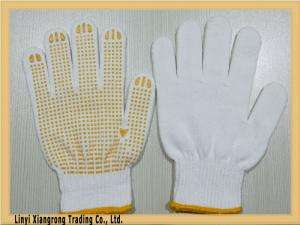 China Bleached white cotton string knitted PVC dot work gloves on sale