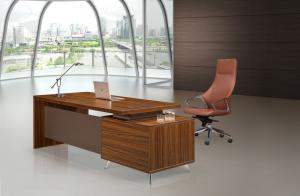 China Modern Office Furniture Desk High Tech Executive L Shaped Office Desk With Cabinet Locker on sale