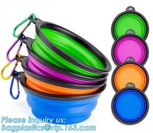 China Wholesale Silicone Portable Food Grade Unbreakable Stocked Colorful Collapsible Pet Dog Bowl With Hook, Portable Foldabl on sale