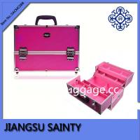 China Pink raised dots ABS professional makeup train case on sale