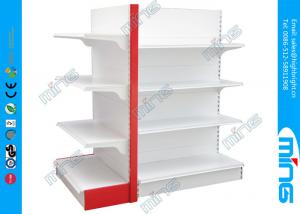 China White and Red Double Sided Supermarket Display Shelves Solid Panel with End Cap on sale