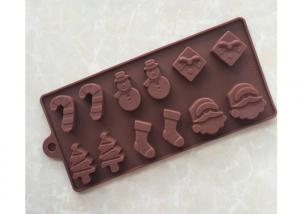 China 12 Cavities Silicone Chocolate Molds With Christmas Decoration Shape 22.3 * 10.0 * 1.4cm on sale