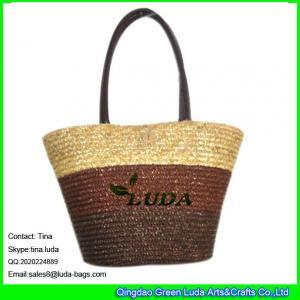 China LUDA wheat straw promotion shopping basket bag on sale