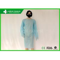 CPE Blue Disposable Surgical Gowns With Loop On Finger Style