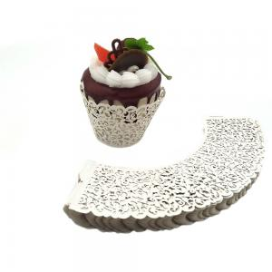 China White Cardboard Mini Cupcake Wrappers Laser Cut Stamping Surface Treatment on sale