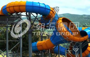 China Funny Fiberglass Water Slides Height 16m Tantrum Valley Capacity 480 Riders / h for Water Park on sale