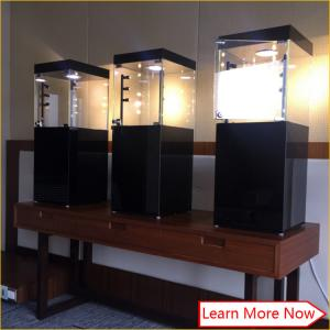 China Custom modern black glass mdf cabinet for jewelry on sale
