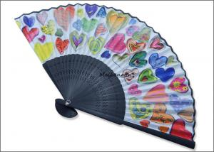 China 21cm 30ribs Hand Held Folding Fans Printing Heart Shape Fabric Folding Hand Fans on sale