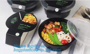 China 1000ml Black Disposable Biodegradable Bento Food Noodles Container PP Plastic Microwave Safe Soup Bowl bagplastics bagea on sale