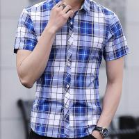 Summer Slim fit  checkered  pattern casual clothing fast drying for man shirt
