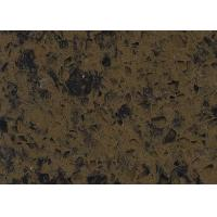 Artificial Type Dark Brown Composition Quartz Stone Countertops Slab With Black Veins