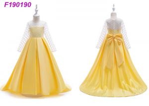 China Hand Embroidery Yellow Childrens Flower Girl Dresses With Long Train 80-160 Cm on sale