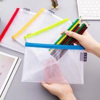 Clear Mesh Grid Reusable Ziplock Bags / Zipper File Bags For Office Supplies