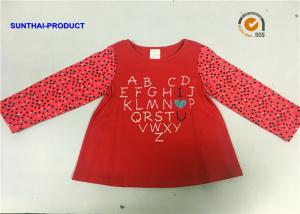 China Pin Dot AOP Children Contrast Long Sleeve T Shirt With Glitter Screen Print on sale