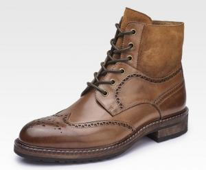 China Pointed Toe Mens Brown Leather Chelsea Boots , Lace Up Ankle Boots For Party / Dating on sale