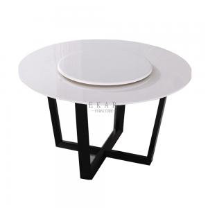 China White And Black Round Stone Rotating Dining Table on sale