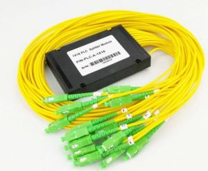 China 100 * 80 * 10mm 1 X 16 SM Fiber Optic PLC Splitter ABS Box 2.0mm Dia LSZH Material on sale