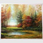 Classical Original Oil Landscape Paintings River Side For Wall Decor