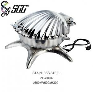 China Stainless Steel Electronic Shell Shape Silver Plated Buffet Serving Dish on sale