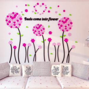 China 3D fashion acrylic wall stickers china home decor  Balloon flower sticker for kids room nursery school on sale