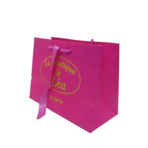 China custom black spot foil gift paper bag shopping bag with ribbon handle on sale