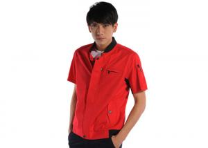 China Standing Collar Industrial Work Uniforms Two Triangle Pockets Blended Twill on sale