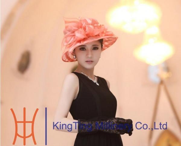 102dd86763b37 Peach Wedding Organza Hat With Two Layer Flying Organza Brim for ...