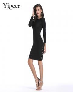 China Long Sleeve Knitted Bodycon Women's Dress on sale