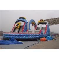 Ourdoor Playground Big Kid Inflatable Water Slides With Obstacles And Climbing Wall
