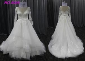 China Unique Bride Lace Female Wedding Dress With Long Sleeves Mixed Sizes Zipper Back on sale