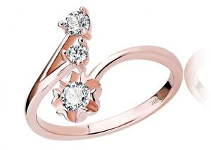 China Trendy Accent 925 Sterling Silver Rings Two Crystal With Flower For Girl on sale