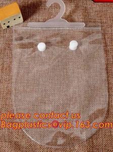 China reusable transparent hanger hook plastic bags,degradable d2w hdpe/ldpe die cut / punch handle plastic door hanger bags on sale
