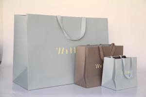 China Recycle Matt Coated Paper Shoping Bags , 230gsm White Art Card Paper Carrier Bag on sale