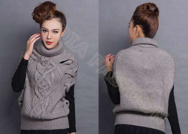 Sleeveless Chunky Cable Knit Sweaters Pullover With Turn Down Collar