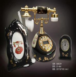 China black ceramic vintage style antique telephone for home decoration on sale