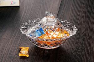 China Butterfly Glass Sugar Jar / Gift Glass Candy Bowl / Glassware Bowl on sale