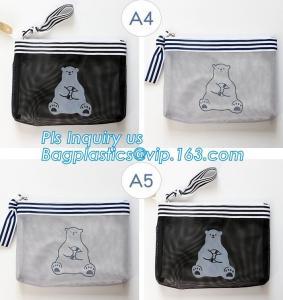 China PVC Mesh File Bag With Closure Zipper File Folder Bag, Promotional hot PVC Plastic File Document Bag with Zipper lock me on sale