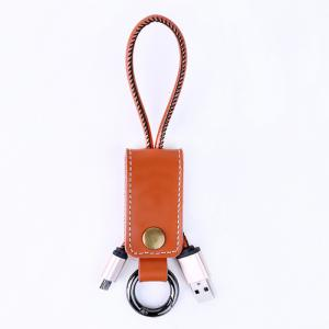 China PU Micro USB Power Cable With Leather Key Chain Micro USB Connector on sale