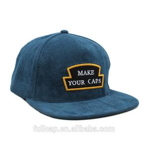 China Blue Corduroy Snapback Hat , Blank Snapback Caps With Custom Woven Label Logo on sale